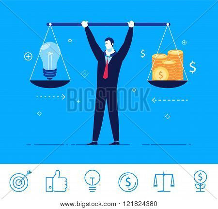 Vector business concept  illustration. businessman holding weights in his hands