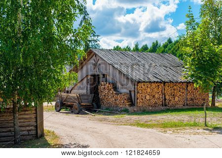 Barn Full Of Reserve Firewood In Rural Areas