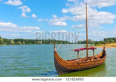horizontal Photo Viking boat on the water