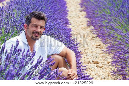 Man in the lavander fields