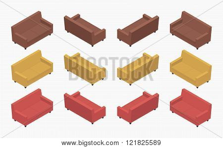 Set of the isometric modern colored sofas. The objects are isolated against the white background and shown from different sides