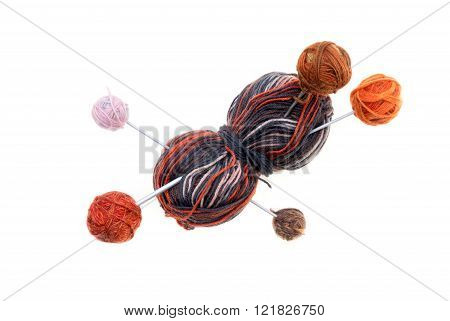 Different Colored Balls Of Wool With Knitting Needles