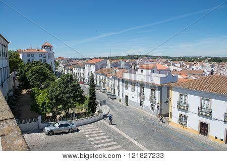 Old Street Of Evora City In Portugal