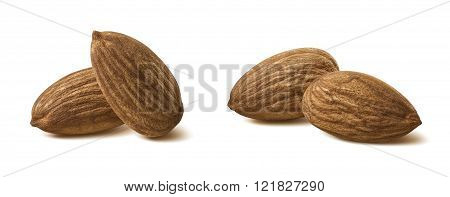 Pairs Almond Nut Isolated On White Background