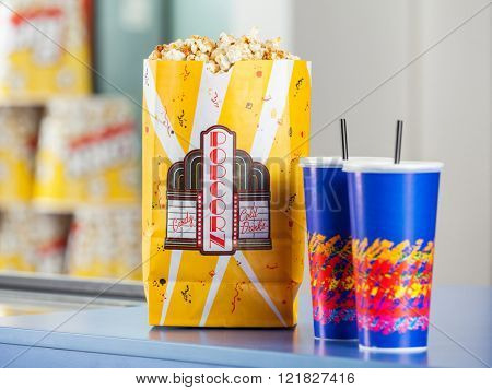 Popcorn And Drinks On Concession Stand