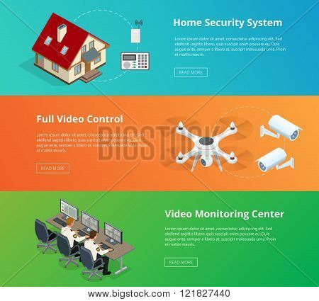 Alarm system. Security system. Security camera. Security control room. Security guard monitoring. Re