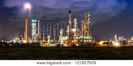 Oil Refinery In Night Time