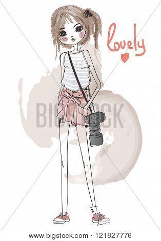 cute cartoon hipster girl