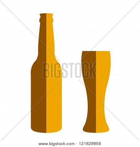 Beer Bottle And Glass.