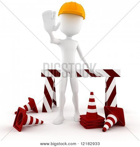 3d man worker STOP - isolated on white