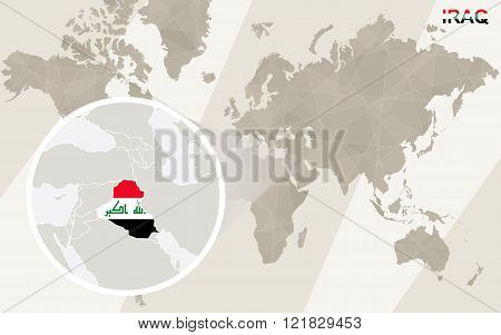 Zoom On Iraq Map And Flag. World Map.