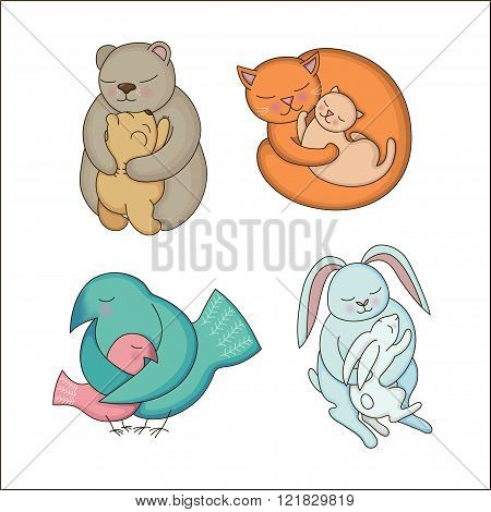 Set of hand drawn Baby and Mommy Animals isolated on white. Mother's hugs. Cute bears cats rabbits and birds - moms and kids.