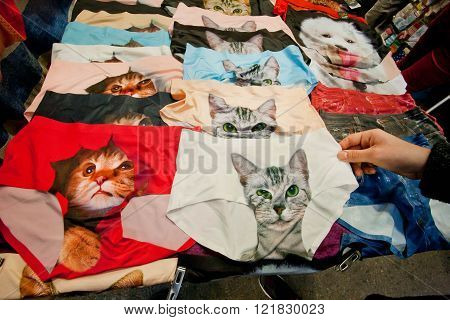 HONG KONG, CHINA - FEB 9: Cute cats faces depicted on women's panties for sale on underwear street market on February 9, 2016. More than 47 million tourists visit Hong Kong annually