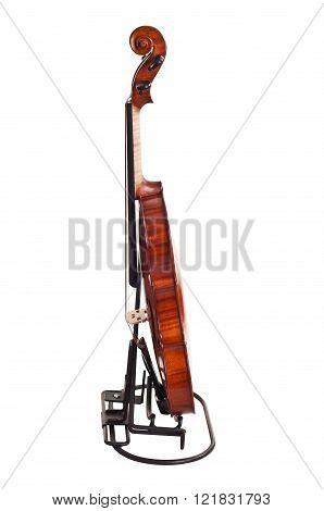 Close Up Of A Violin Isolated On White Background