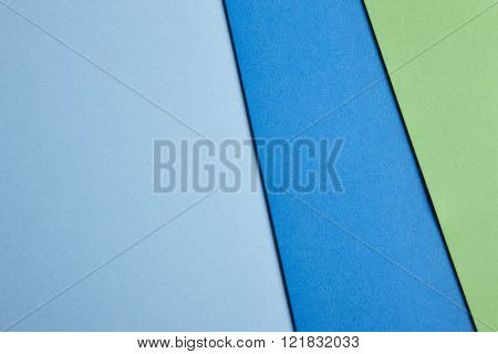 Colored Cardboards Background In Blue Green Tone. Copy Space.