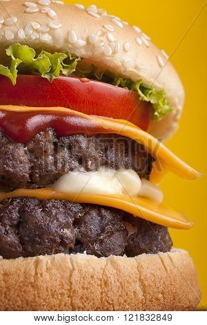 Close Up Of Double Cheeseburger
