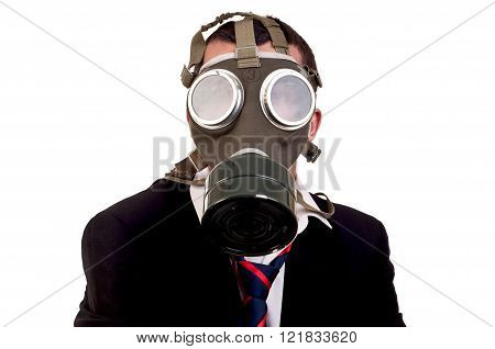 a business man with gas mask over white background