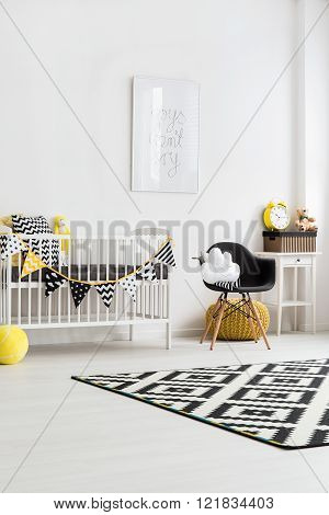 Image of a modern nursery room, vertical