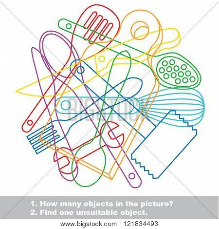 Utensils mishmash colorful set in vector. Find all hidden objects on the picture. Find one unfit object.