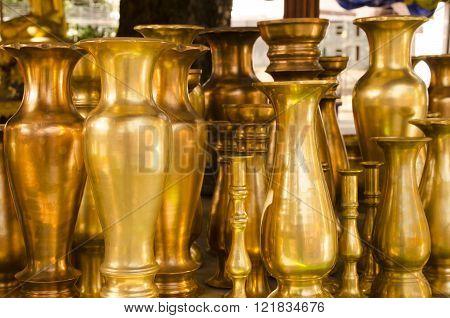 Brass candle or vase holders vintage decoration object.