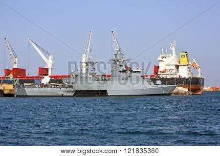 GULF OF ADEN, REPUBLIC OF DJIBOUTI FEBRUARY 08, 2016: EU WARSHIP F-262, German multipurpose corvette, (Braunschweig-class) in the port of Djibouti