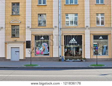 MINSK BELARUS - OCTOBER 4: Adidas flagship store in Minsk on October 4 2014. Minsk is a capital and the largest city of Belarus.