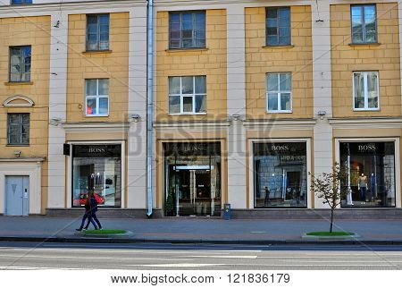MINSK BELARUS - OCTOBER 4: Hugo Boss flagship store in Minsk on October 4 2014. Minsk is a capital and the largest city of Belarus.