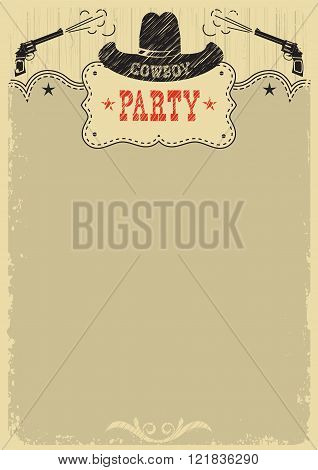 Cowboy Party Background With Western Decoration.vector Cowboy Poster
