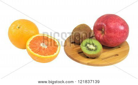 Orange, Kiwi, Apple Fruits Isolated