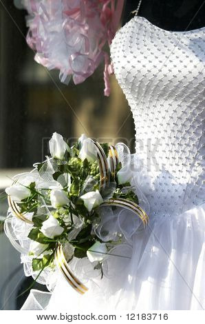 bridal gown and bouquet