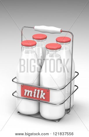 Four glass bottles of milk with light red caps in a metal carrying case with holder and word milk written on the front on white background.