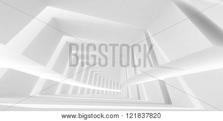 White Bent Futuristic Interior. 3D Illustration