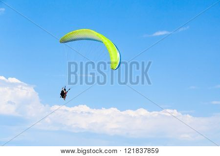 Paragliders In Bright Blue Sky, Tandem
