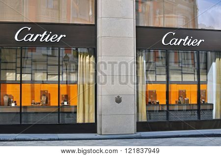 MOSCOW RUSSIA - AUGUST 30: Facade of Cartier flagship store in Moscow on August 30 2014. Cartier is a french company that designs and sells jewellery and watches.