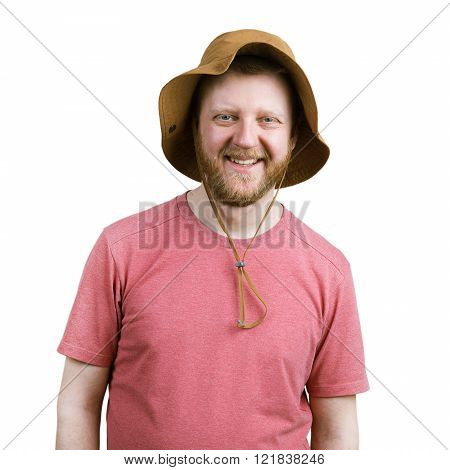 Funny happy bearded man in a panama hat
