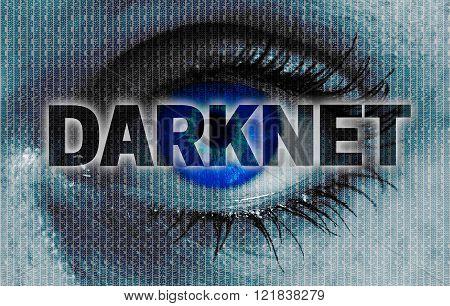 Darknet Eye Looks At Viewer Concept Background