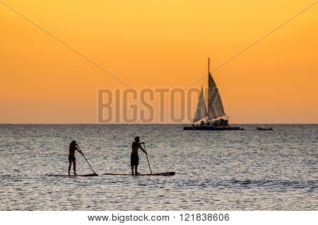 The afternoon is about to end while doing some paddle surf at  Hadicurari Beach, Aruba, Netherland Antilles. ** Note: Soft Focus at 100%, best at smaller sizes