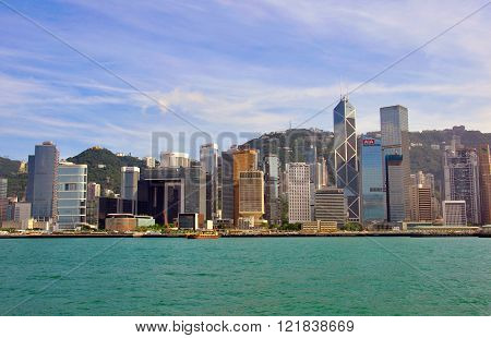 HONG KONG CHINA - JUNE 5: Panorama of Hong Kong downtown from Kowloon Island on June 5 2012. Hong Kong is one of the two Special Administrative Regions of the People's Republic of China.