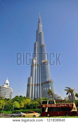 DUBAI UAE - JUNE 11: Burj Dubai the tallest building in the world in Dubai downtown on June 11 2012. Dubai is a city in the United Arab Emirates located within the emirate of the same name