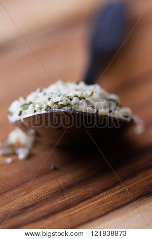 Teaspoon With Raw Shelled Hemp Seeds