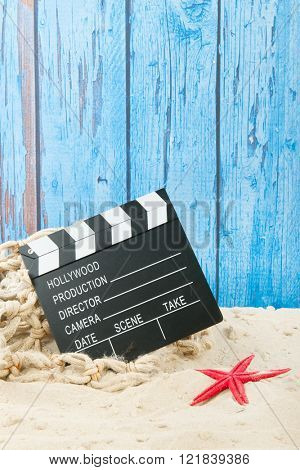Clapboard from movie at the beach