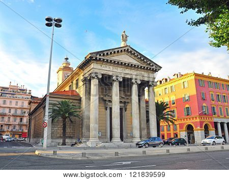 NICE FRANCE - JUNE 17: Ancient building in historical centre of Nice on June 17 2011. Nice is a fifth largest and one of the most popular city of France.