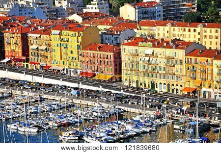 NICE FRANCE - JUNE 18: Panorama of Nice city center and harbor on June 17 2011. Nice is a fifth largest and one of the most popular city of France.