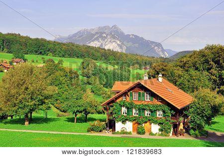 Swiss chalet in the Bernese oberland region