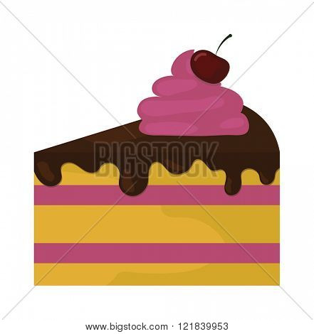 Sweet cake vector illustration, fresh dessert isolated on white background