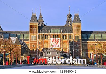 AMSTERDAM NETHERLANDS - MARCH 26: Tourists at the famous sign