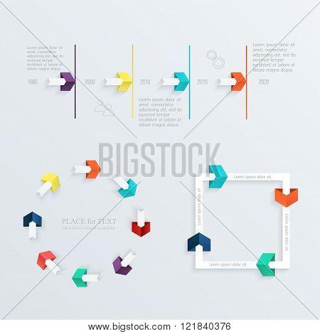 Set Of Timeline Infographic Design Templates.