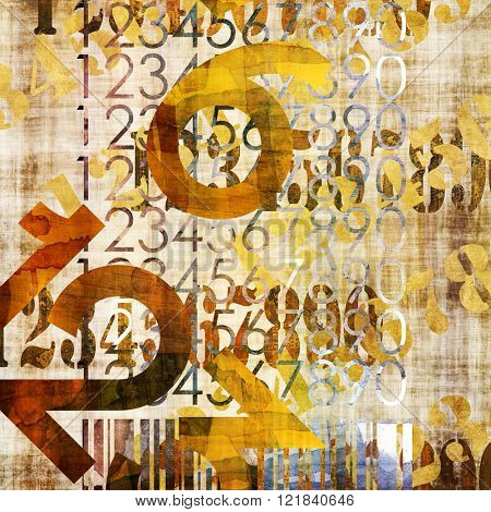 art abstract grunge collage of  number and typo, monochrome  background in old  gold, brown and black colors