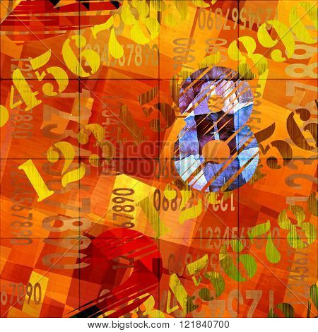 art abstract grunge collage of  number and typo, monochrome  background in orange gold, brown and red colors and one blue number