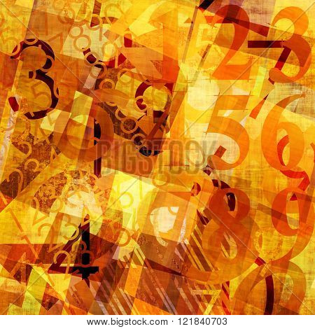 art abstract grunge collage of  number and typo, monochrome  background in orange gold, brown and white colors